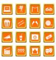 cinema icons set orange vector image