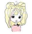 cute baby girl doll princess hand drawn vector image