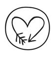 Doodle Arrow Heart icon vector image