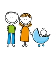 happy family drawing isolated icon design vector image