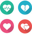 Heart shapes flat design icons set vector image