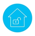 House with open lock line icon vector image