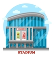 Glassware sport stadium building with posters vector image