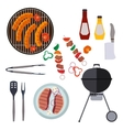 Barbecue design elements and barbecue grill summer vector image