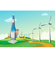 A rocket at the hilltop with windmills vector image