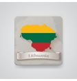 Icon of Lithuania map with flag vector image vector image