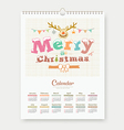 Calendar sketch Merry Christmas Reindeer design vector image