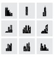 black building icon set vector image vector image