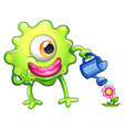 A green monster watering the plant vector image