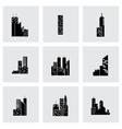 black building icon set vector image