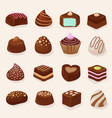 cartoon chocolate desserts and candies set vector image