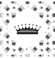 crown icon and seamless pattern vector image