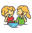 kids eating candy concept line icon vector image