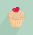 Strawberry cupcake on mint green background vector image