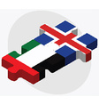 United Arab Emirates and Iceland Flags vector image