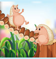 two hedgehogs on the bridge vector image