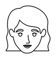 monochrome contour of smiling woman face with wavy vector image