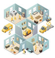 isometric industrial cleaning colored composition vector image