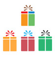set gift box icon on white background flat style vector image