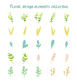 Decorative leaves and flowers design elements vector image vector image