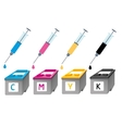 CMYK ink cartridges in perspective Syringe with a vector image
