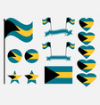 bahamas flag set collection of symbols flag vector image