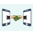 Hand giving money to other hand vector image