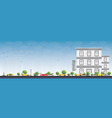 hotel or hostel building with blue sky vector image
