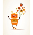 Orange robot with flowers vector image