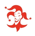 Red joker with a sly look and a smile vector image