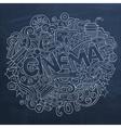 Cartoon cute doodles hand drawn Cinema inscription vector image