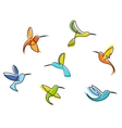 Abstract colorful hummingbirds Vector Image