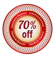 Label on 70 percent discount vector image vector image