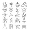 set of cute baby icon isolated on whi vector image