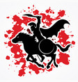 spartan warrior riding horse with sword and shield vector image