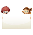 Two worried kids holding an empty signboard vector image vector image