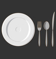 Dining Set Plate Fork Spoon Knife vector image