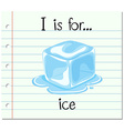Flashcard letter I is for ice vector image