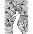 Decorative ornamental peacock Doolle style vector image