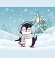 penguin in scarf and headphones winter landscape vector image