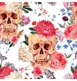 seamless pattern with skull and flowers vector image
