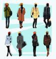 london fashion street model fall vector image