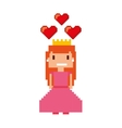 pricess girl pixelated icon vector image