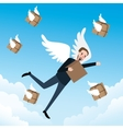 send delivery box fast flying with wings vector image