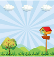 A birdhouse at the hilltop with an arrowboard vector image
