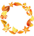 watercolor leaves round frame vector image