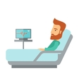 Patient lying in the hospital bed vector image