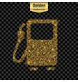 Gold glitter icon of gas station isolated vector image
