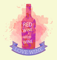 Red wine tasting and love card vector image