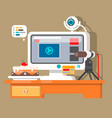 creative office workspace of blogger with elements vector image